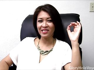 Asian culture interview - Asian milf gloryhole interview blowjob