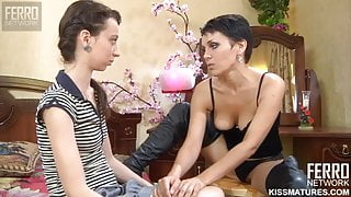 Mom teaches daughter sex and fucks with a strapon