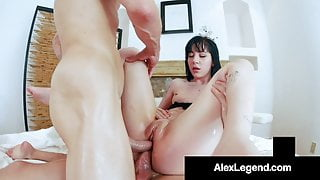 Hot Charlotte Sartre Gets 2 Huge Cocks Up Her Tiny Butthole!