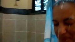 Cute dark Latina receives a facial