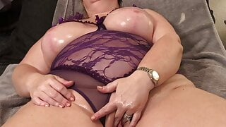 Big Boob Amateur Wife Oils Huge Fake Tits Plays with Pussy