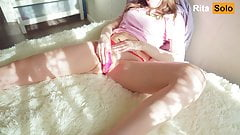 Young beauty tries a new vibrator and loudly cums