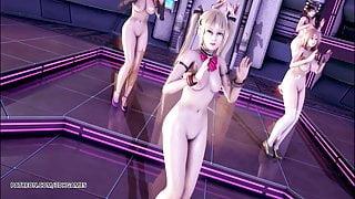 R18 MMD PinkCat Nude Dance Nyotengu Ayane Kasumi Marie Rose