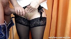 A stranger came into the fitting room! Cum on secretary's pussy
