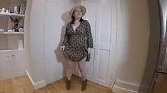 Mom strips off in dress and Ankle Boots