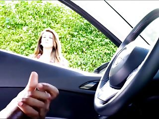 Masturbation stroking Beauty cant stop watching black man stroking in car