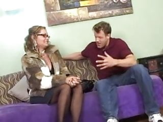 Pussy couch Hot mature cougar in stockings and heels banging on couch