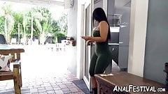 Delectable MILF fucks Elf and sucks cock near pool outside