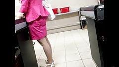 Canid voyeur shopping GILF - white pantyhose legs