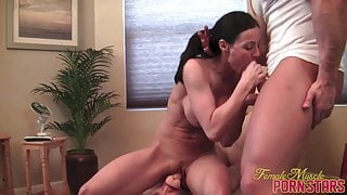 Fit Porn Star Kendra Lust Rides a Dildo and Sucks Cock