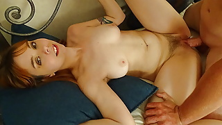 Sexy amateur redhead fucks for the first time on camera
