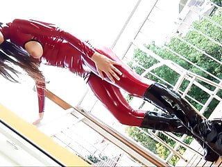 Latex catsuit inflatable bra Masturb in red latex catsuit