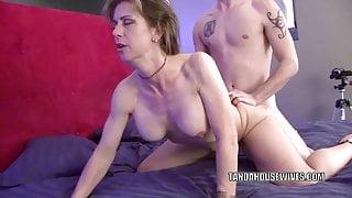Mature slut Trixie fucks hard and gets a big facial