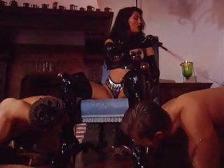 Anal fisting gloves latex Babe in pvc thigh high boots and gloves anal spitroast