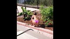 Real amateur (61)- ex-girlfriend holidays thong ass flashing