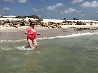 Bikini lady sheer Bouncing tits running in the waves in sheer suit