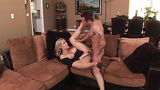 Good facial for blonde milf cougar with big butt