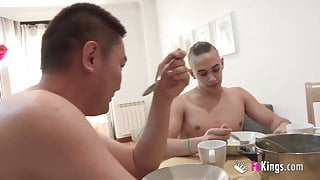 MILF invites her stepson and his friend to a horny dinner