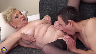 Granny gets young guest inside her hairy cunt