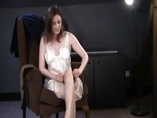 Frig my pussy in stockings British slut holly gets dressed and frigs herself