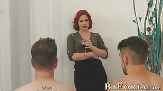 Chad Diamond and Dante Colle threeway fuck with redhead babe