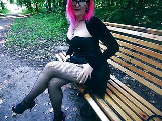 Corset and big boob Goth girl in corset and heels risky public facial cum