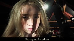 Restrained teen girl stands bdsm fuck and spank