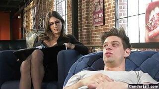 Big tits tgirl shrink Jade Venus sucks and anal rides client