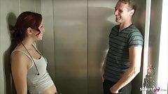 Riskant Fuck in Public Elevator for German Teen Natalie Hot