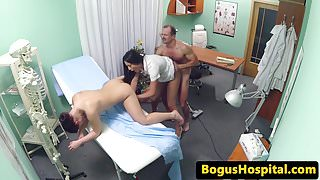 Real euro nurse cumsprayed in trio with doc