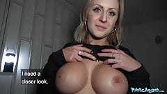 Public Agent Perfect boobs get covered in jizz