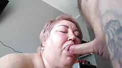 I fill my mother-in-law's mouth with cum after a blowjob 2