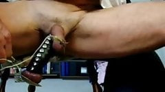 daddy electro-stimulation producing a big cum load