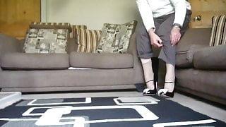 Teetering in extreme high heels