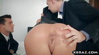 XBRAZ - Wife gets a double anal and double pussy fuck