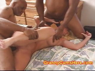 Granny interracial gangbang Granny gets a cock up the ass