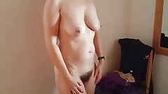 MILF shows mature tits,  big ass and hairy cunt