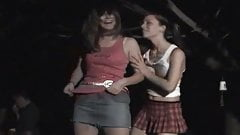 Girls dancing at outdoor party