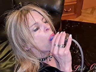 Canine clean vulva area Slut-orgasma celeste in latex canine dildo deep throat