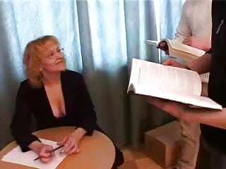 Mature woman fucking youg boy - A mature woman fucks five young boys