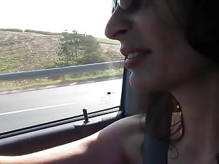 Gay highway patrol Flashing and pussy play on the highway