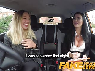 Fake tit lesbians - Fake driving school lesbian sex with hot australian babe