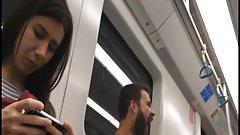 Candid Brunette Feet toes in Flip Flops in subway