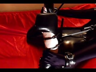 Hogtied bdsm movies - Skullfucking hogtied ring gagged slut in black latex intro