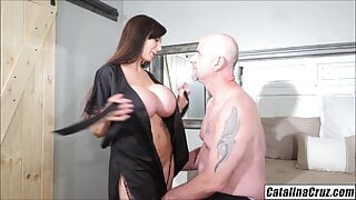 Busty wifey Catalina Cruz gives her man pair of surprises