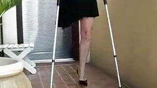 Amputee girl in high heels
