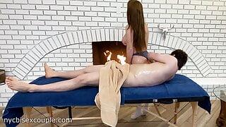giving Bianca Burke a massage