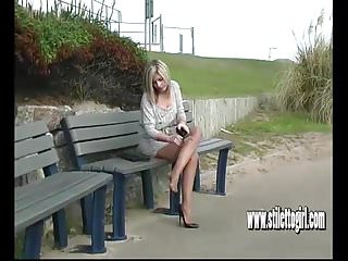 Sexy tall black female - Sexy blonde with shapely legs teases in tall black stilettos