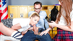 LETSDOEIT - Hardcore Threesome In School With Scamed Teacher