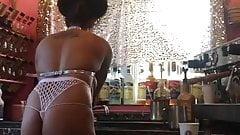 bikini ebony barista showing all